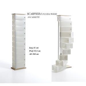 Scarpiera Contenitore Multiuso Fluida Wood 10 Cassetti 45x25.5xh168 cm