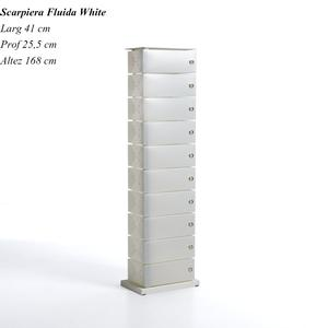 Scarpiera Fluida White 10 Cassetti 41x25.5h168 in polipropilente bianco Perla