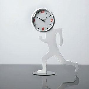 Orologio da tavolo Uomino in MDF laccato con effetto gommoso 33 x 3.5 x h55 cm