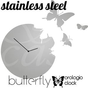 Orologio da Muro Butterfly Rotondo diametro 48 in acciaio inox super mirror con 3 Farfalle da appendere al muro