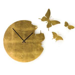 Orologio da parete Butterfly Ø48x2 cm cassa in metallo laccato Foglia Oro Con 3 farfalle da fissare a muro