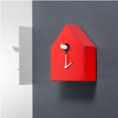 Orologio a Cucù in metallo laccato PUNTINIPUNTINI 19,5x10xh26 cm Diamantini Domeniconi colore rosso