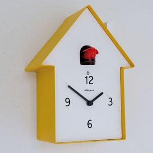 Orologio Cucu in Legno Casa 19.5 x 11 x h26 cassa in metallo verniciato Giallo