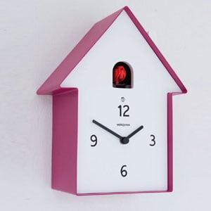 Orologio Cucu in Legno Casa 19.5 x 11 x h26 cassa in metallo verniciato Magenta