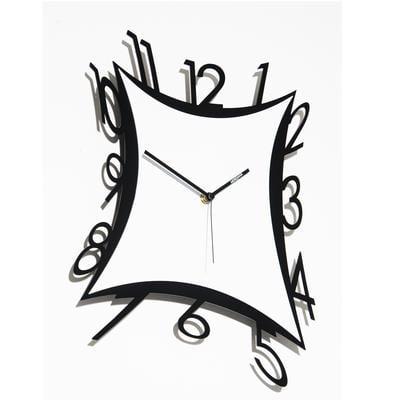 Orologio da parete stile classico 42x49xh3 cm quadrante bianco cornice in metallo nera