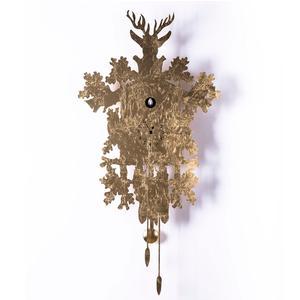 Orologio Cucu LEAF rivestimento in fogli oro h88x45x10 cm Diamantini Domeniconi colore oro