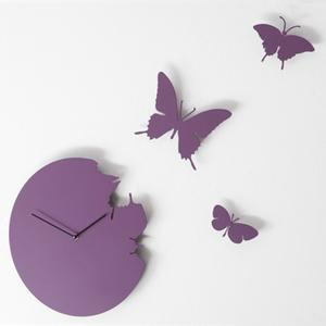 Orologio da parete Butterfly diametro 40 rotondo Colore MAGENTA cassa in metallo laccato Con 3 farfalle da fissare a muro