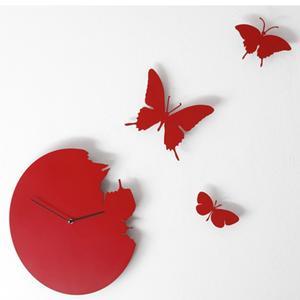 Orologio da parete Butterfly diametro 40 rotondo Colore ROSSO cassa in metallo laccato Con 3 farfalle da fissare a muro