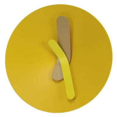 Orologio da parete MOZIA medio Ø40 cm con cassa in alluminio tornito e quadrante conico, giallo limone