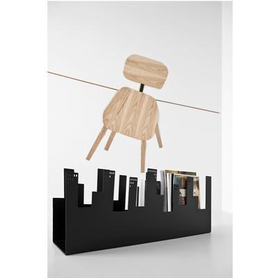 Appendiabiti da parete BelleVille 44x13xh31,5 in metallo laccato tagliato al Laser , figura gattacielo nero
