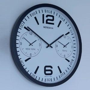 Orologio rotondo fusi orari diametro 53 cm, nero quadrante bianco