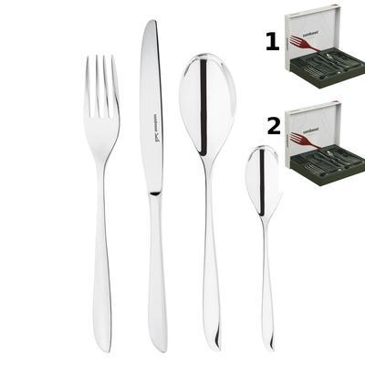 Servizio Posate set da 48 pezzi acciaio inox 18/10 12 posti tavola Monoblocco LEAF inox lucido lavabile in lavastoviglie