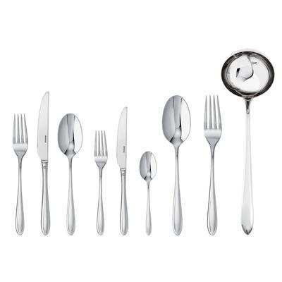 Servizio Posate in acciaio inox 18/10 75 Pezzi Monoblocco Dream 12 posti tavola, 12 coltelli da tavola, 12 cucchiai, 12 forchette, 12 cucchiaini da caffè inox lucido