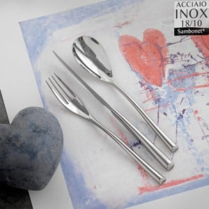 Servizio Posate 24 Pezzi monoblocco Sambonet H-Art 6 Posti tavola in acciaio inox 18.10 finitura acciaio inox lucido
