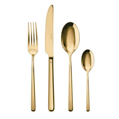 Servizio Posate in acciaio inox 18/10 PVD LINEAR Finitura ORO 24 Pezzi Monoblocco 6 posti tavola, Oro lucido