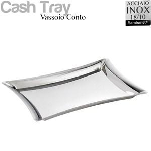 Vassoio Conto in acciaio 18/10 linea Bamboo Sambonet 22x14 cm - Peso 0,33 kg inox lucidato a specchio