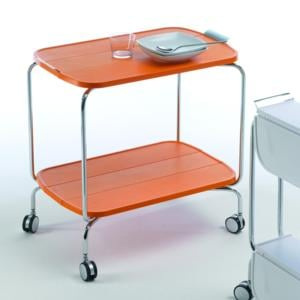 Carrello portavivande richiudibile in ABS 69x45x70h cm richiudibile a meta o completamente SMART Colore Arancio