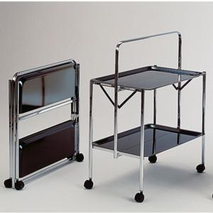 Carrello Portavivande richiudibile in soli 6 cm SELECT 64x42xh82cm Struttura in acciaio vassoi in formica nera