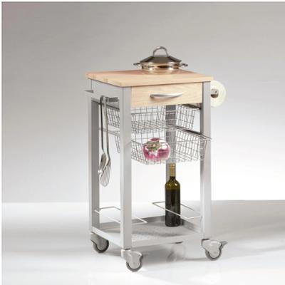 Carrello cucina CUISINE con top in legno Massello di faggio 46x46xh88 cm cestelli estraibili in acciaio cromato