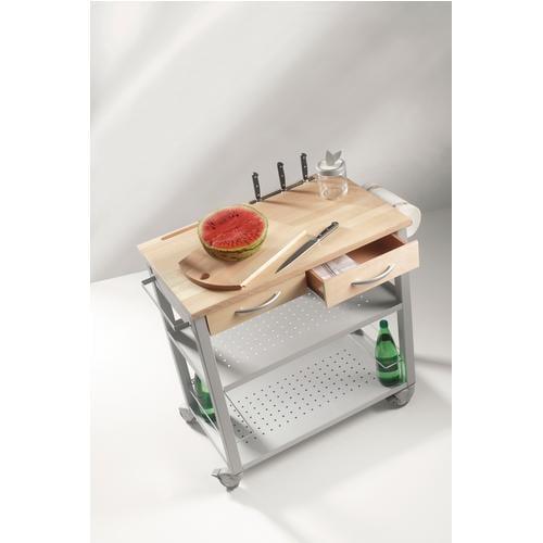 Carrello da cucina professionale CHEF 81x50xh88 cm struttura e ripiani in acciaio Top e tagliere in legno di faggio