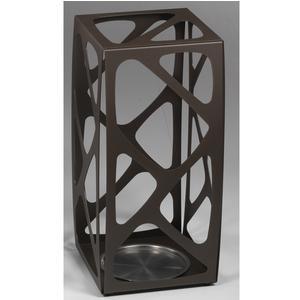 Portaombrelli in acciaio Verniciato Basket 24x24xh53 cn con vaschetta inox salvagoccia Cioccolato sablè
