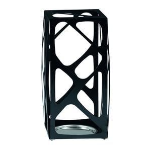 Portaombrelli in acciaio Verniciato Basket 24x24xh53 cn con vaschetta inox salvagoccia titanio sablè
