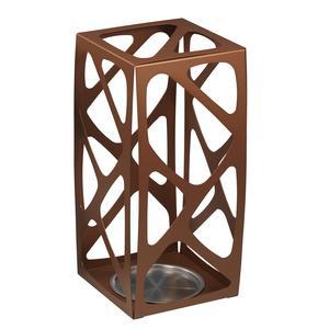 Portaombrelli in acciaio Verniciato Basket 24x24xh53 cn con vaschetta inox salvagoccia Rame sablè