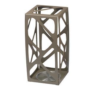 Portaombrelli in acciaio Verniciato Basket 24x24xh53 cn con vaschetta inox salvagoccia Tortora sablè