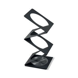 Portaombrelli Molla in acciaio verniciato 25x25xh56 cm con vaschetta salvagocce in acciaio inox Titanio sablè