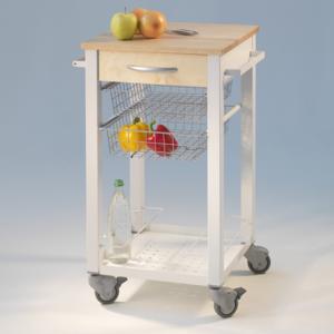 Carrello da Cucina CUISINE 46x46xh86 cm telaio Bianco con cestelli estraibili in acciaio ripiano in massello