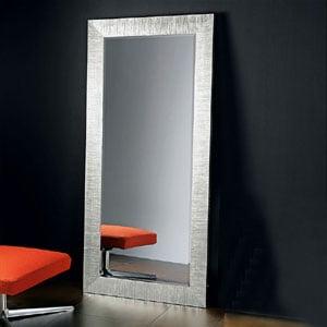 Specchiera da Terra Con Cornice in legno DIVA 92xh192 cm decorata Foglia Argento