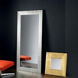 Specchiera da Terra con Cornice in Legno FLAT 70xh170 cm decorata foglia Argento