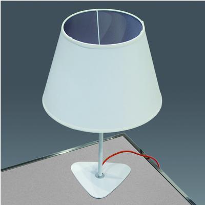 Lampada da tavolo 40x40xh60cm struttura in acciaio verniciata bianco opaco e paralume in tessuto ignifugo bianco con interno argento
