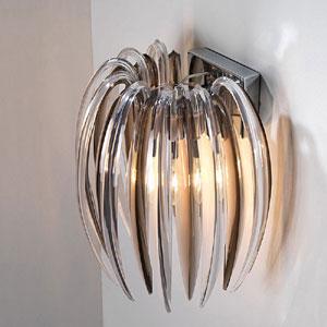 Lampadario da parete struttura in acciaio cromato MEDUSA A 27x27xh43 cm pendenti in plastica Colore Fume'