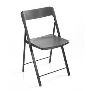 Sedia pieghevole richiudibile ZETA con struttura Alluminio seduta e schienale in plastica Grafite