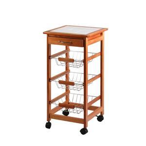 Carrello da Cucina in legno di Faggio 37x37xh76 cm con ruote colore naturale