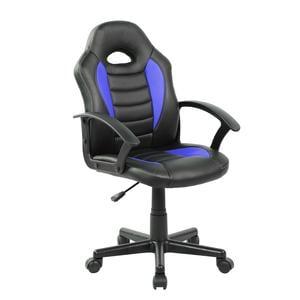 Poltroncina Gaming modello Racer Pro gioco, computer ufficio in similpelle con altezza seduta regolabile 42-54 cm nera e blu
