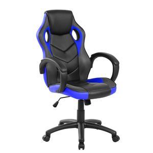 Poltrona Gaming modello Racer Pro gioco, computer ufficio in similpelle con altezza seduta regolabile 46-56 cm nera e blu