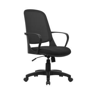 Poltrona operativa con Braccioli Washington da ufficio seduta 48-58 cm nero/nero