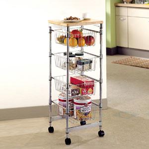 Carrello Cucina - 4 Cestelli con ripiano in legno 35x35xh96 cm