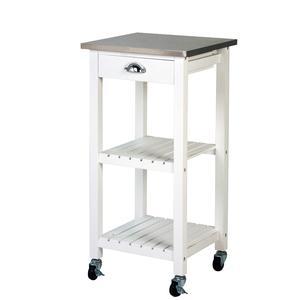 Carrello da Cucina in legno Bianco e Inox 40x40xh85 cm con ruote colore Bianco