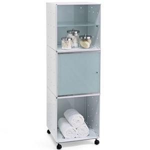 Mobile da Bagno o Cucina QBO 3 Moduli 35x35xh112h cm con Ruote e Mensole in Colore Bianco