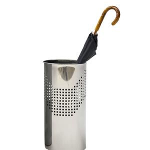 Portaombrelli Forato Quadrotto con Vaschetta raccogli acqua inox 25xh50 cm - L24 inox lucido adatto per esterno