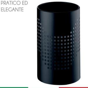 Cestino gettacarta diametro 20xh33 cm Quadrotto in lamiera forata lucido Nero