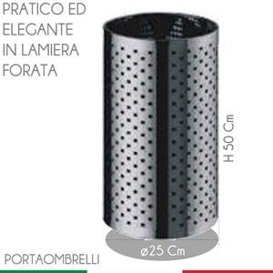 Portaombrelli Foro Quadrato Ø25xh50 cm - L24 MIDI in lamiera forata inox satinato