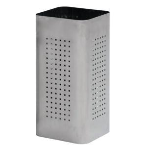 Portaombrelli cestino in acciaio inox AISI430 spazzolato 25x25xh50 cm con foro quadrato