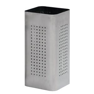 Portaombrelli Q Bin in acciaio inox AISI430 spazzolato 25x25xh50 cm con foro quadrato e vaschetta adatto per esterno