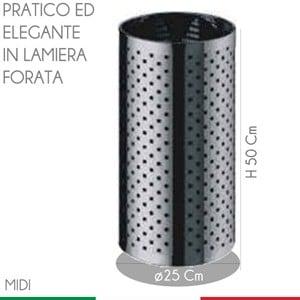 Cestino Foro diametro 25xh50 cm - L24 Quadro Midi in Inox satinato