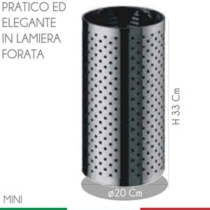 Cestino Foro diametro 20xh33 cm - L10 Quadro Mini in inox Satinato