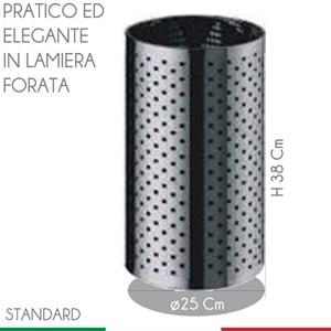 Cestino Foro diametro 25xh38 cm - L18 Quadro Modello Standard in inox Lucido